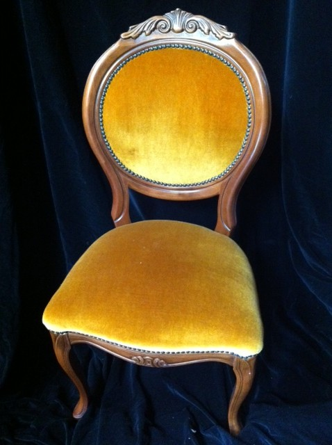 Balloon Back Chair Gold - Prop For Hire