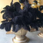 Gangster Gold Urn with Black Flowers - Prop For Hire