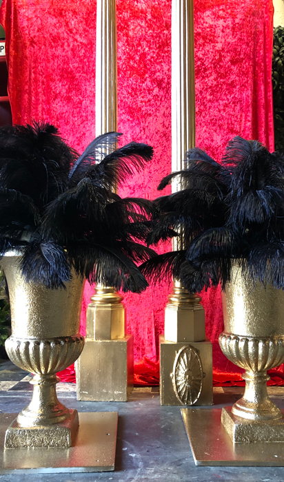 Gangster Tall Gold Urns - Prop For Hire