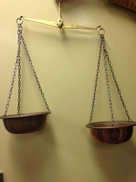 Hanging Copper Scales - Prop For Hire