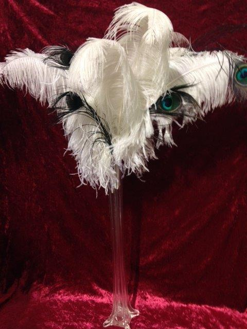 Ostrich Feather Vases - Prop For Hire