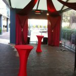Red Ceiling Draping - Prop For Hire