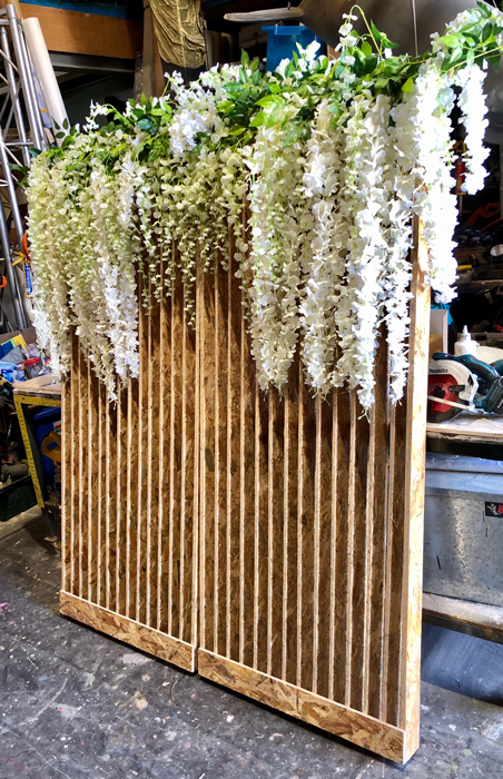 Timber and Flowers Backdrop - Prop For Hire
