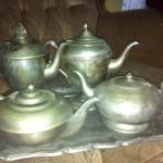 Vintage Peuter Teapots - Prop For Hire